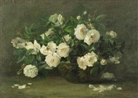 still life with white roses by elizabeth hubbard