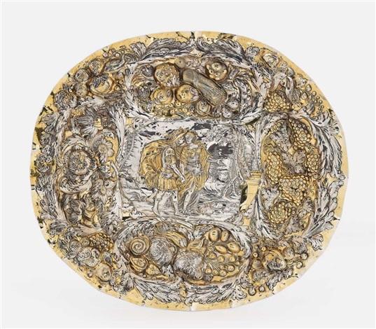 a silver partially gilt presentation dish