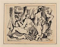 Stehender und sitzender weiblicher Akt vor..., 1934
