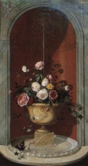 vasque de fleurs et moineau près de la fontaine by georges viard