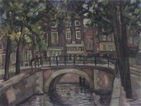 a view of the blauwburgwal, amsterdam by theo swagemakers