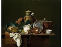 küchenstilleben mit totem huhn by pieter jacob horemans