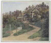 alte villa mit veranda und garten (pfalzauer schlössl) by fritz weber