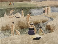 florence, summer 1945, bathers in the arno by john arthur malcolm aldridge