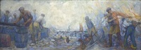 steel workers near a harbour by herman heijenbrock