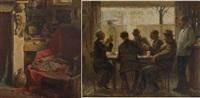 au café du commerce (+ intérieur de l'artiste, lrgr; 2 works) by george van raemdonck