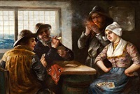 three fishermen and a young girl playing cards by j. sellenati