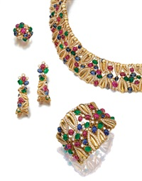 parure comprising a necklace, a bracelet, a pair of pendent earrings, and a ring (set of 4) by fred
