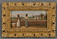 two cotton pickers by a cotton field with distant cabins by william aiken walker