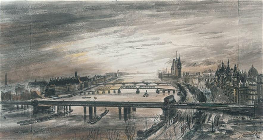 view of london from waterloo bridge by frances macdonald