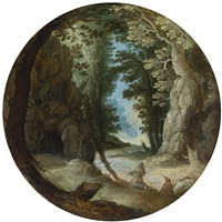 monks in a wooded landscape by kerstiaen de keuninck