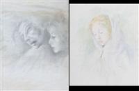 tre figure (+ ritratto di fanciulla; 2 works) by gemma vercelli