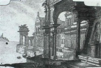 a capriccio view of the ruins of a southern palace by angelo toselli
