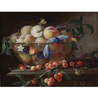 still life with peaches and plums in a glass bowl, resting on a table with cherries and a snail by francesco della questa