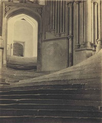 a sea of steps, wells cathedral, steps to chapter house by frederick henry evans