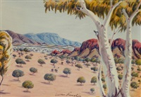 valley with ghost gums by oscar namatjira