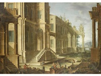 an architectural capriccio with figures before palace steps (+ an architectural capriccio with soldiers amongst ruins in the foreground; pair) by vicente giner