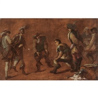 a study of soldiers playing boccia ball by jan miel