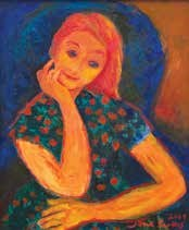 girl on blue chair by jane evans