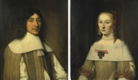 portrait of barthold van douma(+ portrait of doetje van crack; 2 works) by douwe juwes de dowe