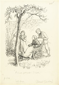 a complete set of drawings for shepard's illustrated edition of the secret garden (32 works) by ernest h. shepard