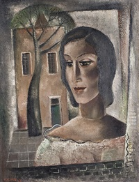 portrait of a woman with house by reimond kimpe
