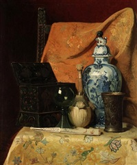 oriental still life with fan by axel hendrik hulle