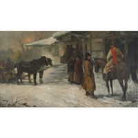outside a village tavern in winter by marian szczugowski