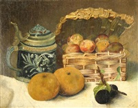 delft stein and basket of apples by m. bennett