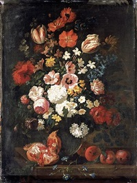 a still life of flowers in a vase with a pomegranate and plums by philips van kouwenberg