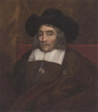 portrait of lord sherborne in a brown doublet with white collar and black hat by william dobson