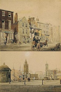a group of watercolours of liverpool by william gawin herdman