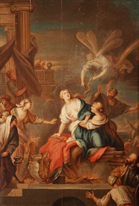 mythological scene with queen dido and iris by anton raphael mengs