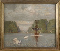 landscape with swans and a fountain by ernest clifford peixotto