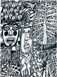situation lxxxviii (avec arbre et oiseau) by jean dubuffet