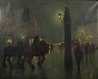 rue nocturne animée by oscar verpoorten
