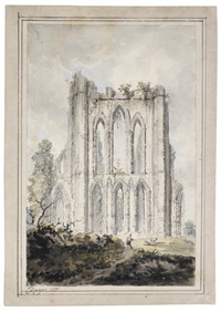 rievaulx abbey, yorkshire unframed by edward dayes
