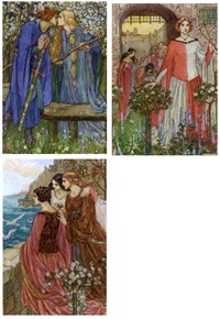 illustrations for the early poems of william morris (12 works) by emma harrison