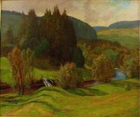 landschaft mit kleinem steg über flusslauf by ferdinand otto leiber