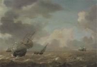 shipping in a choppy sea by pieter mulier the elder