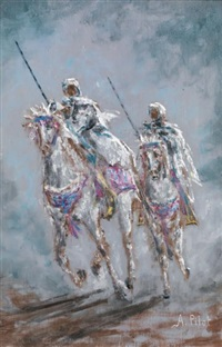 guerriers marocains au galop by albert pilot