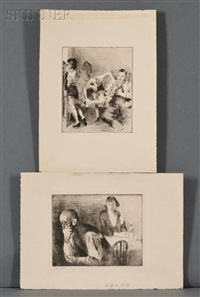 furnished room; backstage (2 works) by raphael soyer