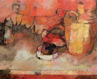 nature morte au homard by bernard cathelin