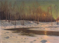 forest pool, winter by victor emanuelov