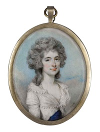 portrait of a young lady in a white and blue dress with pearls by horace hone