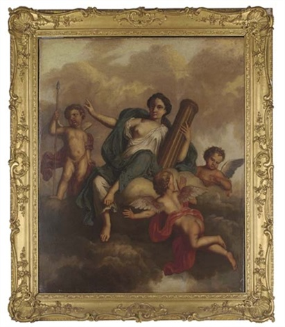 fortitude holding a pillar, supported by putti by sir james thornhill