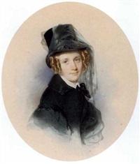 portrait de jeune femme en buste avec un chapeau haut-de-forme surmonté d'un voile by leopold fischer