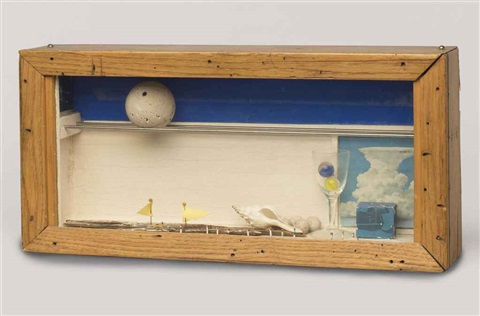 untitled sails wine glass and constellation cube by joseph cornell