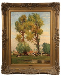 cows in pasture time at twin trees by karl langhammer