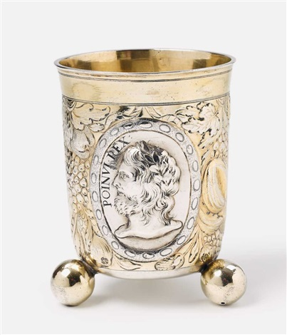 a silver partially gilt beaker